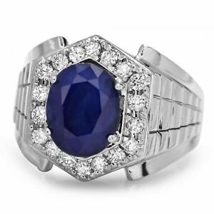 4.60Ct Natural Diamond & Sapphire 14K Solid White Gold Men's Ring
