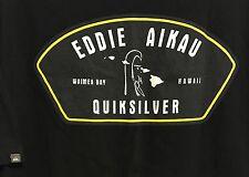 QUIKSILVER EDDIE AIKAU WAIMEA BAY T SHIRT XL BLACK RARE DESIGN NICE!