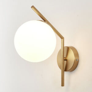 Modern Wall Light White Glass Wall Lamp Bedroom Wall Sconce Home Gold Lighting