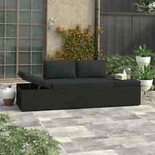 vidaXl Sun Bed with Cushions Poly Rattan Black Patio Chaise Lounge Garden Sofa
