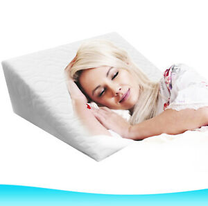 Wedge Pillow Foam Support Bed Wedge Pillow Removable Zip Quilted Cover UK Stock