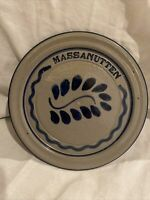 "Virginia Salt Glazed Cobalt Blue Massanutten Stoneware Pottery Plate 8.5"" HARVEY"