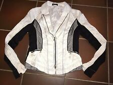 Jacke Blazer Übergangsjacke Knitter Look edel dünn schwarz weiß Gr. 40 Undici