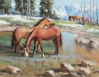 "TOM HAAS painting 'San Juan Range' oil 11""x14"" Colorado wild horses ranch winter"