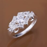 White CZ Engagement & Wedding Rings 925 Silver Ring For Women Jewelry Size 7/8