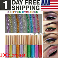 10Pcs Waterproof Shiny Eyeshadow Glitter Liquid Eyeliner Makeup Pen Metallic US