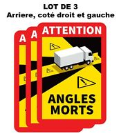 Lot 3 Autocollants Stickers Attention Danger Angles Morts Obligatoire Camion