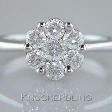 Diamond Daisy cluster ring 1.00 ct taille brillant F vs Set in 18 ct Or Blanc