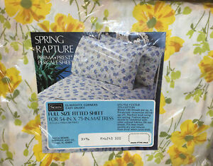 """VINTAGE SEARS SHEET FULL FITTED SHEET NEW 54"""" x 75"""" YELLOW FLOWERS"""
