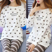 Women Long Sleeve Cartoon Heart Print Tops And Pants Pajamas Set Sleepwear