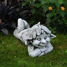 """Massive Steinfigur Gnom """"Faulpelz"""" Troll Wichtel Kobold aus Steinguss frostfest"""