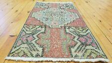 """Beautiful Vintage 1950-1960s Natural Dye 1'5''×2'9"""" Wool Pile,Tribal Area Rug"""