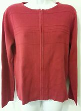 Christopher Bank Sweater Women M Solid Red Zip Acrylic Long Sleeve Cardigan