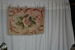 vtg old carpet rug hooked wool floral roses handmade pink green gray 26 x 36 in