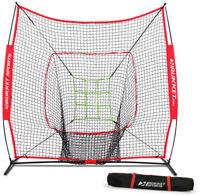 Practice Net with Adjustable Target Baseball Softball Hitting Pitching Backstop