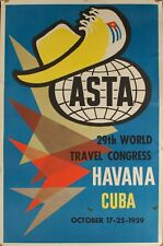 1959 Havana Cuba 29th World Travel Congress October 17-25-1959 Travel Poster