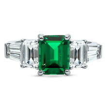 Cz 3-Stone Anniversary Engagement Ring Berricle Sterling Silver Emerald Cut