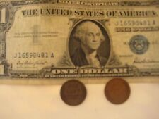 3=1+2: One1957 US$1 Bill Blue Seal & Two Old One Cent US Coins,Confirmation Mail