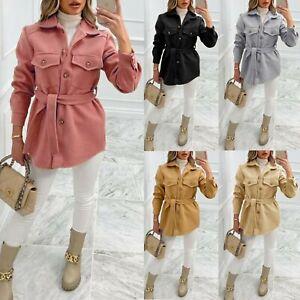 Women's Ladies shacket belted Button Pocket Fleece Collared Coat Jacket 8-14