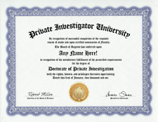 PRIVATE INVESTIGATOR DIPLOMA-INVESTIGATION PI P.I. PRIVATE EYE-CUSTOM GAG DEGREE