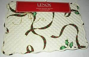 """LEXOX Holiday Nouveau Quilted Reversible Placemats (Set Of 2) 13"""" x 19"""""""