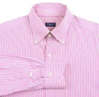 Finamore 1925 Napoli Pink White Black Striped Cotton Button Up Dress Shirt 16.5