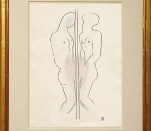 Jean Cocteau Drawing Male French male portrait profile homme duality
