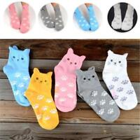 Cute Women Girls Cartoon Cat Ear Candy Color Cotton Low Cut Ankle Socks R