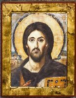 Orthodox icon Jesus Christ Sinai, Russian icon Pantocrator, Handmade wooden icon