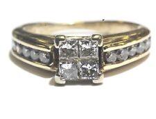 14k yellow gold .64ct SI2 H princess invisible set diamond engagement ring 4.5g