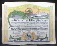1952 Domain Of The Golden Dragon Certificate Ruler of the 180th Meridian.