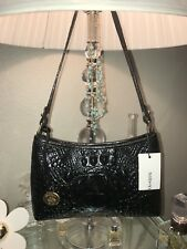 Brahmin Anytime Mini Black Melbourne Genuine Leather Purse Handbag
