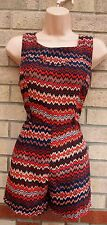 AX PARIS NAVY BLUE CORAL TRIBAL AZTEC SILKY FEEL CULOTTE PLAYSUIT ALL IN ONE 10