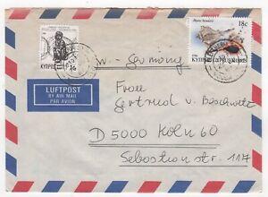 1987 CYPRUS Air Mail Cover NICOSIA to KÖLN GERMANY Shells EMBASSY