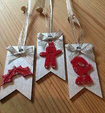 3 x Regalo di Natale Decorazioni da appendere TAG TAG pacco regalo fatto a mano argento