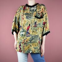 VINTAGE 90s 80s Oversize Pattern Japanese Red Grunge T-Shirt Blouse Top S M