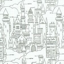 Michael Miller Magic by Sarah Jane DC7196 White Castle Plans BTY Cotton Fabric
