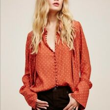 FREE PEOPLE Size S Polka Dot Modern Muse Blouse Top 128.00 Mint