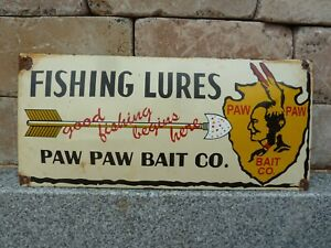 "PAW PAW BAIT Porcelain Sign 20"" Advertising Vintage Fishing Lures USA"
