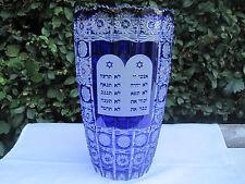 """BOHEMIA COBALT BLUE QUEE LACE HEBREW 10 COMMANDMENTS CRYSTAL VASE 12"""" NIB"""