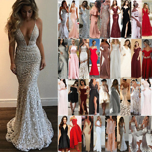 Women Lace Sequin Formal Wedding Evening Party Ball Gown Prom Holiday Dress Size
