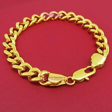 Women Real Solid 9k Yellow Gold GF Belcher Curb Bolt Ring Chain Bracelet Bangle