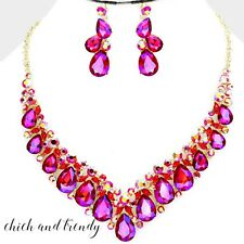 HIGH QUALITY RED FUSHIA AURORA FIRE CRYSTAL FORMAL CHUNKY NECKLACE JEWELRY SET
