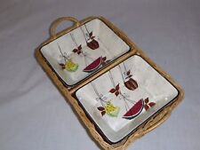 Vtg Mid Century Royal Sealy Jamaica Divided Nut Candy Dish in Basket Fruit Motif