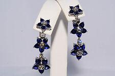 $8,000 7.25Ct Natural Blue Sapphire & Diamond Flower Earrings VVS 18K White Gold