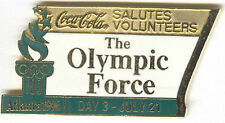 1996 ATLANTA OLYMPIC COCA COLA DAY PIN 3 FOR BOTTLE PUZZLE SET VOLUNTEERS ##