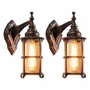 Rustic Outdoor Wall Light Golden Bronze Exterior Wall Sconces Fixture with Ambe