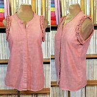 SEE BY CHLOE top blouse shirt frill pink sleeveless cotton UK 8 US 4 IT 40