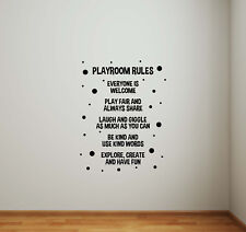 Playroom Rules Sign Wall Decal Kids Room Children Quote Door Vinyl Sticker 830