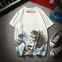 Men Godzilla T-shirt Ukiyoe Japanese Traditional Wagara Wave Camiseta Basic Tops